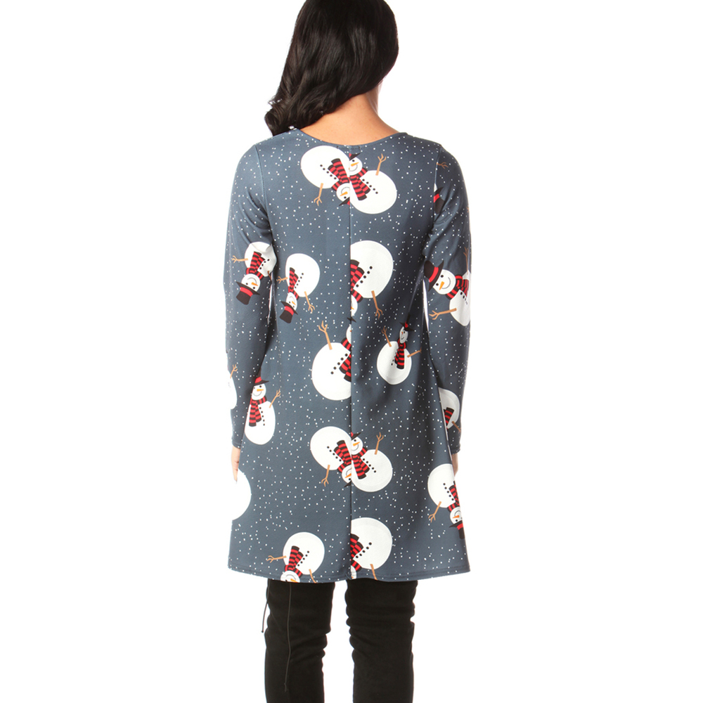 Print Long Sleeve Autumn Winter Christmas Dress Women 19 Casual Loose Short Party Dress Plus Size S-5XL Vestidos 30