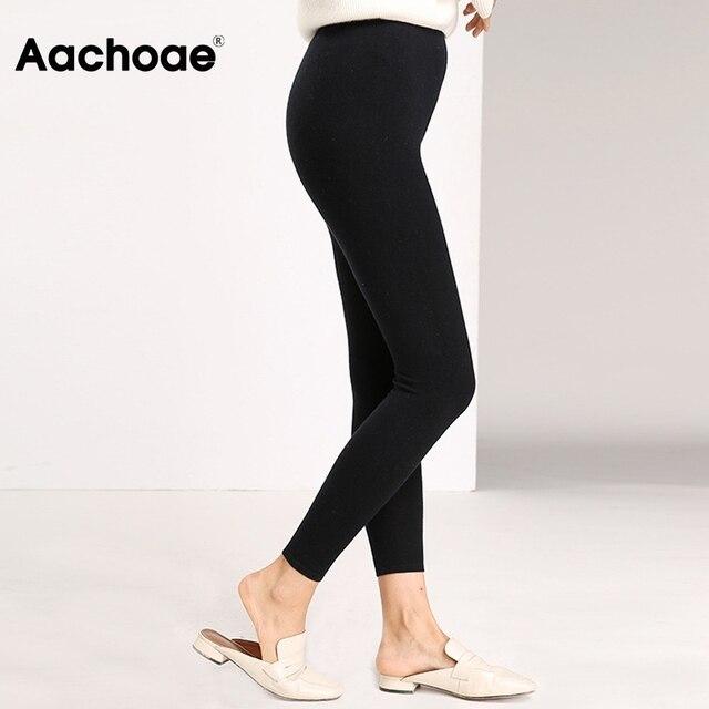 Aachoae Autumn Winter Women Leggings 2020 Solid Casual Slim Pants Trousers High Waist Sportwear Ladies Ankle Length Leggings 3