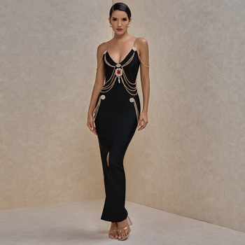 Ocstrade Runway Fashion Maxi Long Bandage Dress 2020 New Arrivasl Black Sexy Celebrity Bandage Dress Bodycon Evening Party Dress 1