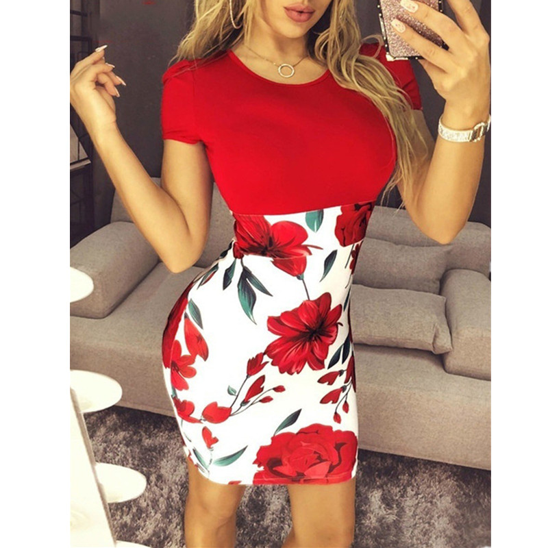 Oufisun Large Size Sexy Packets Hip Women Summer Dress 2019 Casual Bodycon Flower Print Dresses Elegant Slim Patchwork Plus Size