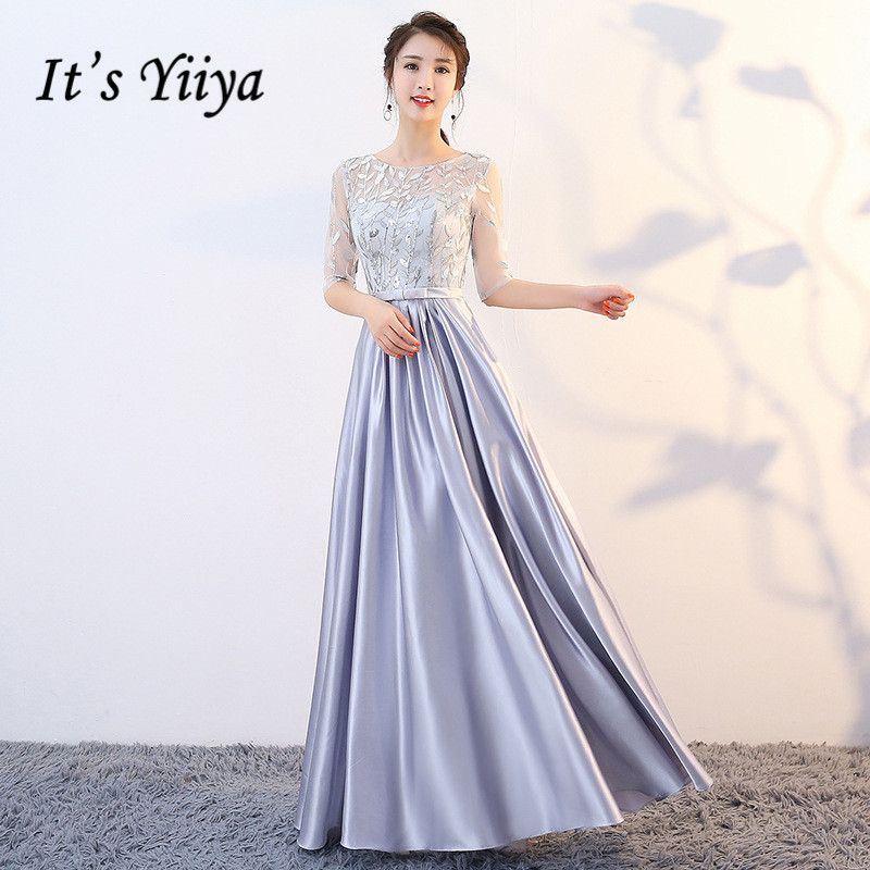 It's Yiiya Evening Dresses Elegant Embroidery Lace Wedding Guests Dress Half Sleeve Zipper K244 Formal Evening Gown Vestido Long