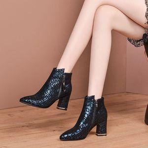 Image 4 - ALLBITEFO ポインテッドトゥの女性ブーツ印刷本革エレガントな秋冬女性のファッションブーツ快適な