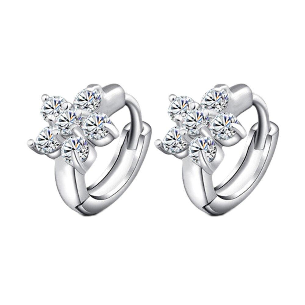 Fashion Crystal CZ Zircon Flower Stud Earrings