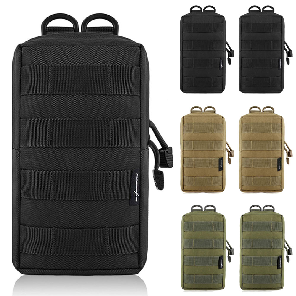 2Pcs Tactical Molle EDC Utility Pouch Bag 600D Nylon Compact Outdoor Hunting Waist Pack Military Airsoft Game Accessory Bag