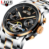 LIGE Men Watches Top Brand Luxury Tourbillon Mechanical Sports Watch Mens Fashion Business Automatic Watch Man Relogio Masculino Mechanical Watches     -
