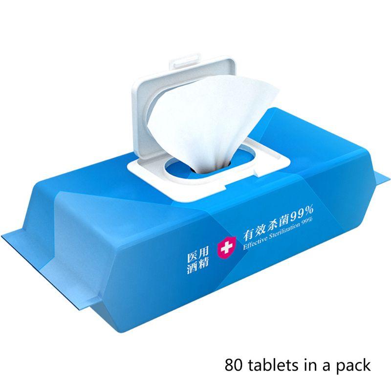 80Pcs Flip-Top Alcohol Disinfecting Wipe Sterilization Sanitizing Antiseptic Pad X7YB