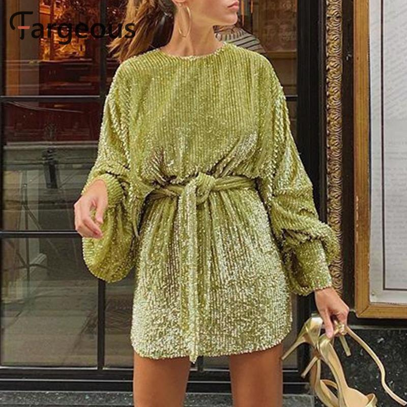 Fargeous Green Gold Velvet Short Dress 2020 Women Casual Stripe Lantern Sleeve Sashes Mini Dress Ladies Club Party Vestidos