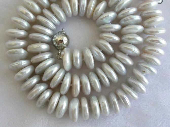 Großhandel schnelle 100% Natürliche schmuck stunning big 13mm weiß runde münze süßwasser zucht perle halskette AAA