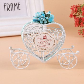 30pcs/lot White Heart-shaped Carriage Candy Box Wedding Gifts And Favors Decoration Iron Wedding Card Holder