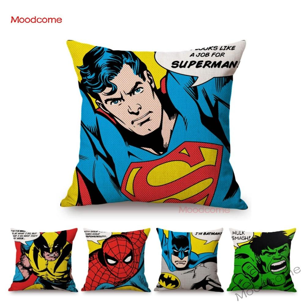 18 POP Art Super Heroes Hulk Spiderman Superman Batman Comic Home Decorative Sofa Throw Pillow Case Cotton Linen Cushion Cover image
