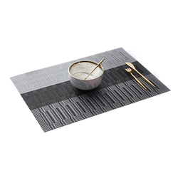 Bamboo Pattern Place Mat Heat-Resistant Stain Anti-Skid Washable PVC Table Woven Vinyl Easy to Clean Set of 1/4/6/8/10