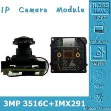 Starlight H.265 3MP 2048*1536 Sony IMX291 + 3516CV300 Ip Intelligente Camera Module Board M12 Lens Fisheye 2.8 12 Mm Onvif Xmeye P2P