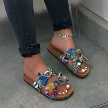 New Women Snake Colorful Slipper Shoes Ladies Multicolor Slide Bow-Knot Slip On Sandals Woman Non-Slip Beach Shoes Size 37-42(China)