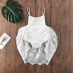 2020 Baby Romper Dress Newborn Baby Girl Clothes Sleeveless Lace Flowers White Romper Jumpsuit Tutu Skirts Summer Outfit 0-24M(China)