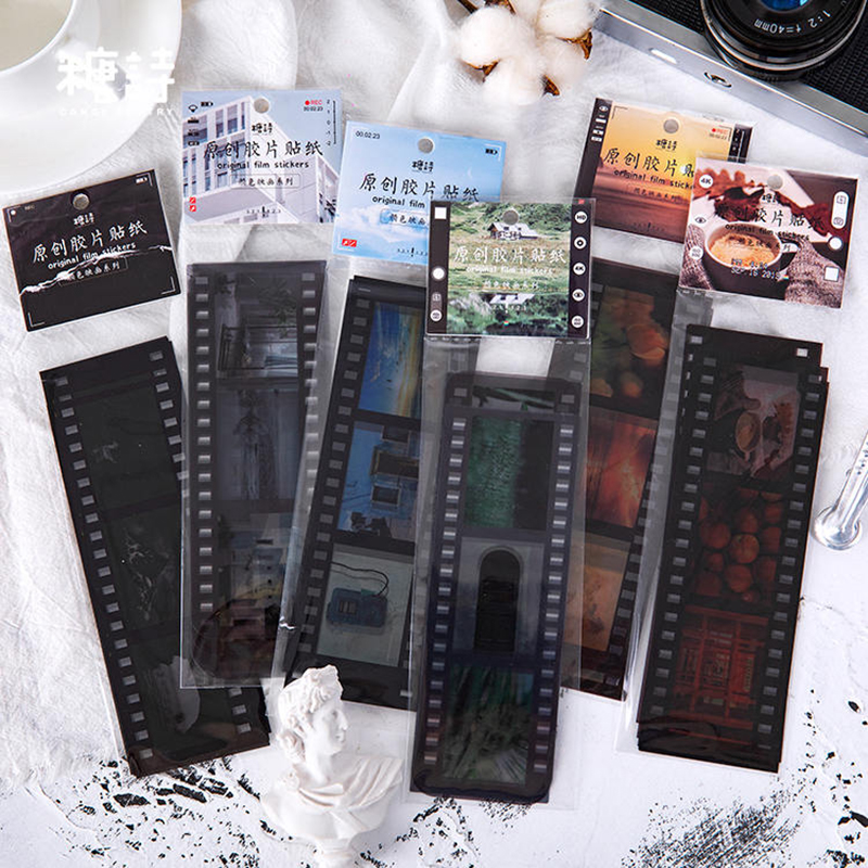 8sheets Creative Retro Movie Film Sticker Diy Washi Sticker Decorative Stickers Phone Sticker Kawaii Student Stationery