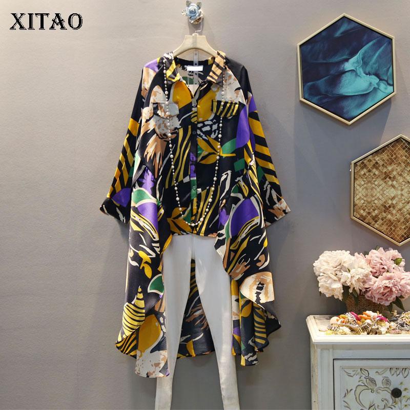 XITAO Print Irregular Blouse Fashion New Women 2020 Spring Elegant Small Fresh Single Breast Casual Minority Shirt XJ3663
