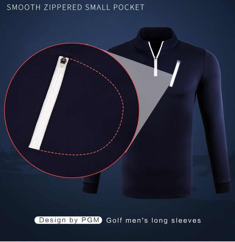 Pgm Uomo Golf Camicette Maniche Lunghe Zipper T Camicia Maschile Sport All'aria Aperta Traspirante Turn Imbottiture Collare Magliette e camicette Inverno Caldo Golf maglie
