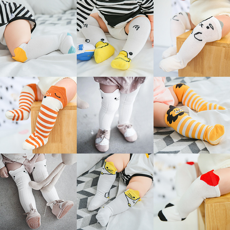 Newborn Baby Girl Cotton Socks Baby Boy Cartoon Mid-tube Socks Loose Mouth Socks Baby Leg Warmers Baby Girls Knee Protector