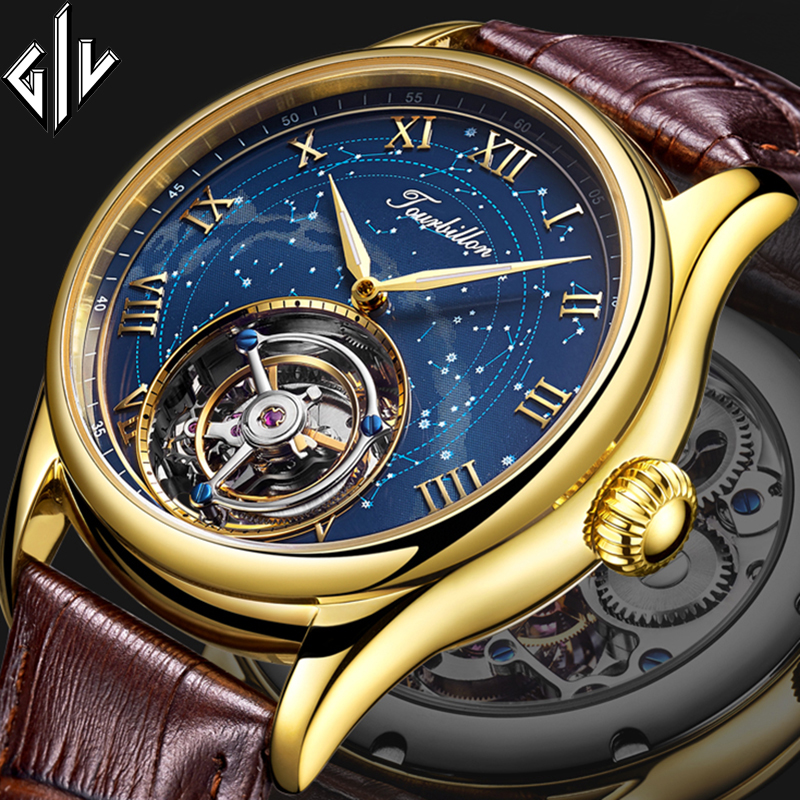 Tourbillon GIV 2020 New Men Watches Real Tourbillon Clock Top Brand Luxury Hand Wind Mechanical Watch Relogio Masculino