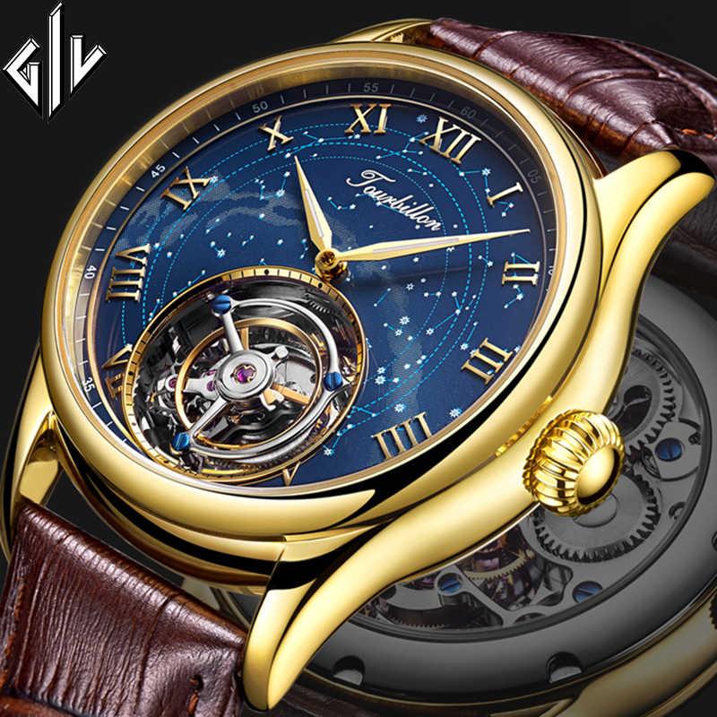 トゥールビヨン giv 2020 新しい男性リアルトゥールビヨン時計トップブランドの高級ハンド風機械式時計レロジオ masculino