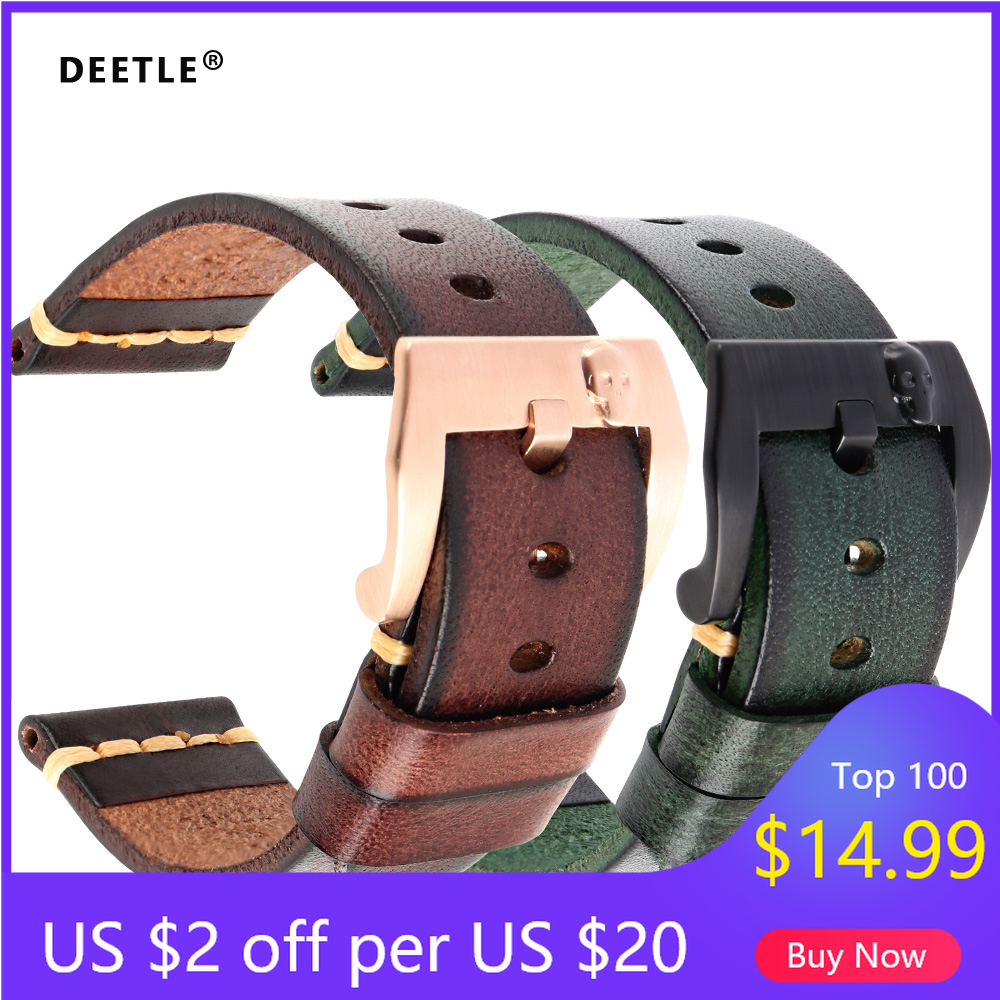 DEETLE Handmade Italian Leather Watch Band 18mm 19mm 20mm 21mm 22mm 24mm Vintage Watch Strap For Panerai Omega IWC Watchband