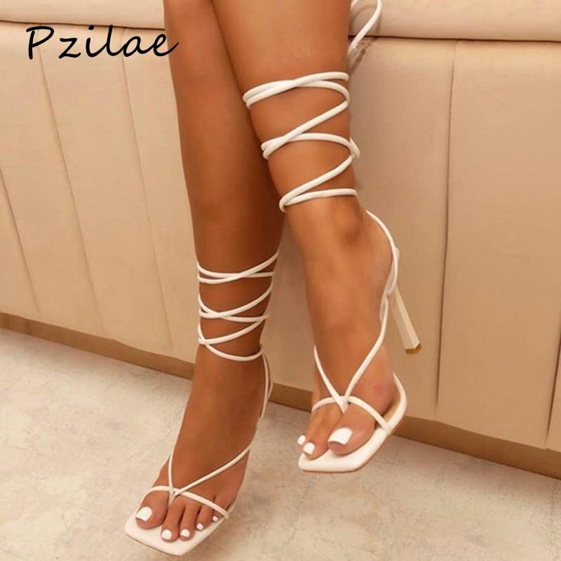 Charitable Pzilae Summer Women Sandals Narrow Band Vintage Square Toe High Heels Cross Strap Thong Sandals Women V Shape Design Shoes Women