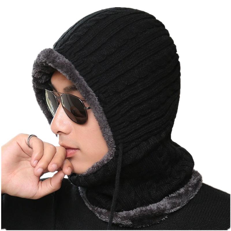 2019 Unisex Winter Knitted Hats Men Women Warm Velvet Beanie Skullies Hats With Bib Male Outdoor Cycling Knit Hat Caps Wholesale