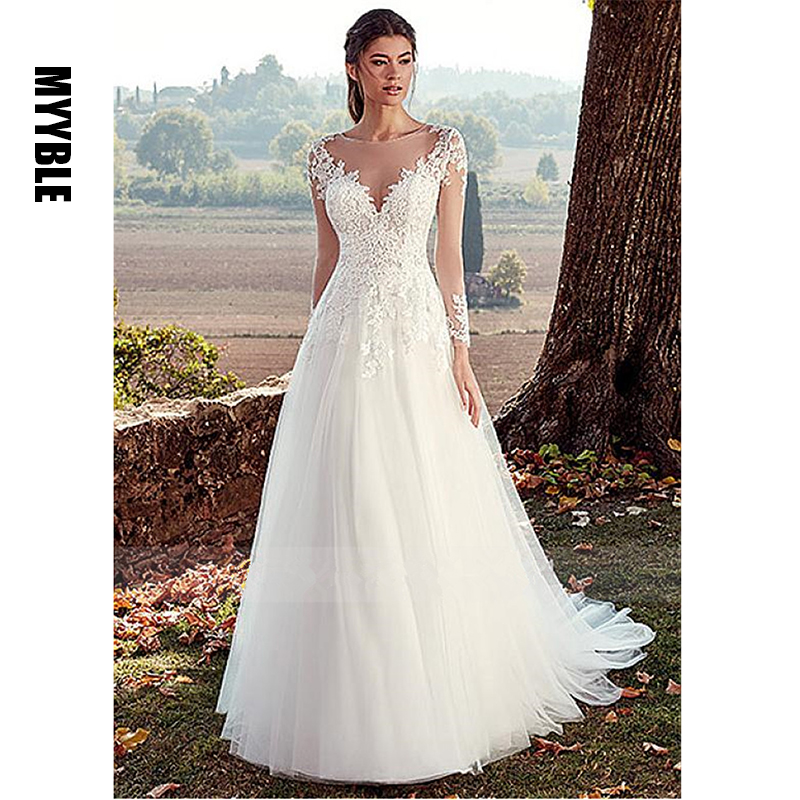 White Ivory Tulle Wedding Dress Long Sleeves Lace Appliques Bride Dress Illusion A Line Bridal Wedding Gowns Vestido De Noiva