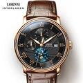 LOBINNI Männer Uhren Mode Marke armbanduhr Seagull Automatische Mechanische Uhr Saphir Mondphase relogio masculino L1023B-2