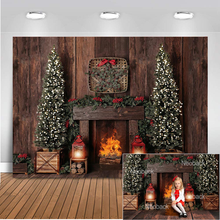 Photography Background Christmas Decoration Tree Retro Vintage Wooden Wall Fireplace Backdrops for Photo Studio