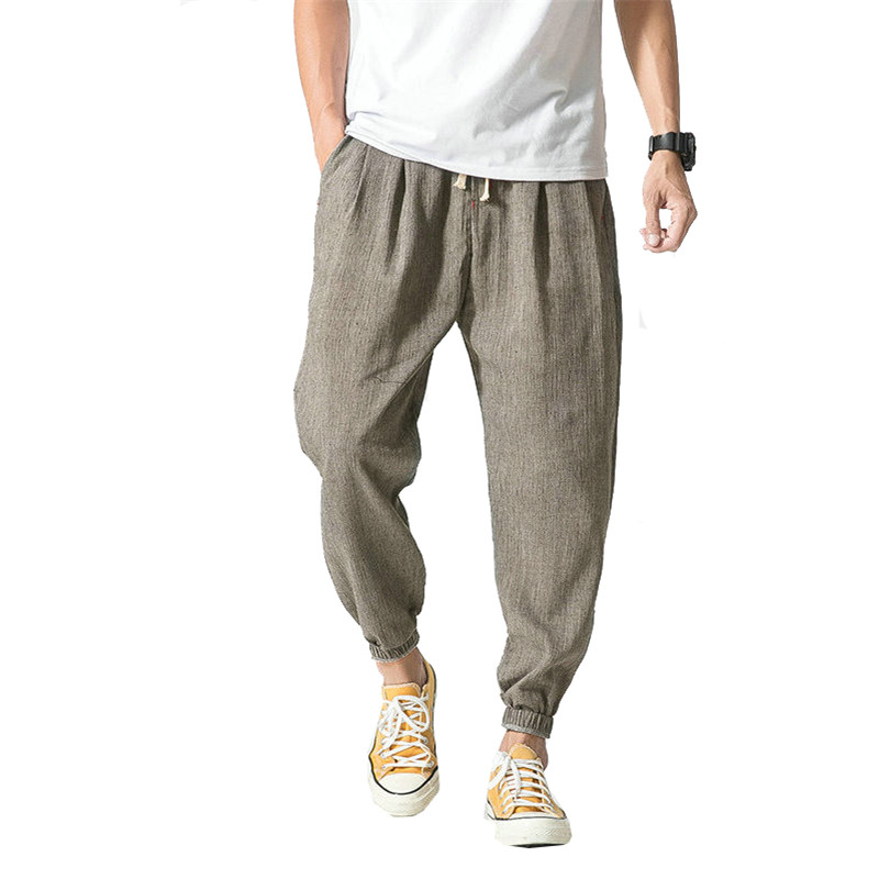 2019 Men's Street Casual Harem Pants Cotton Linen Men's Summer Trousers Loose Sports Men's Jogging Pants Casual Fitness Trousers