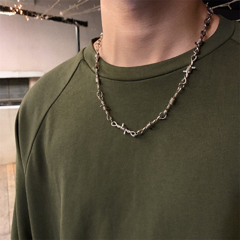 Fashion New Men and Women Street Silver Color Thorns Bramble Necklace Hip Hop Titanium Steel Choker Necklace Ins New Trendy 2020