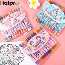 Helpro 12Color/Box Cartoon Oil Pastel LOL Girl Unicorn Erasable Watercolor Pen Drawing Painting Art Marker Pens School Supplies