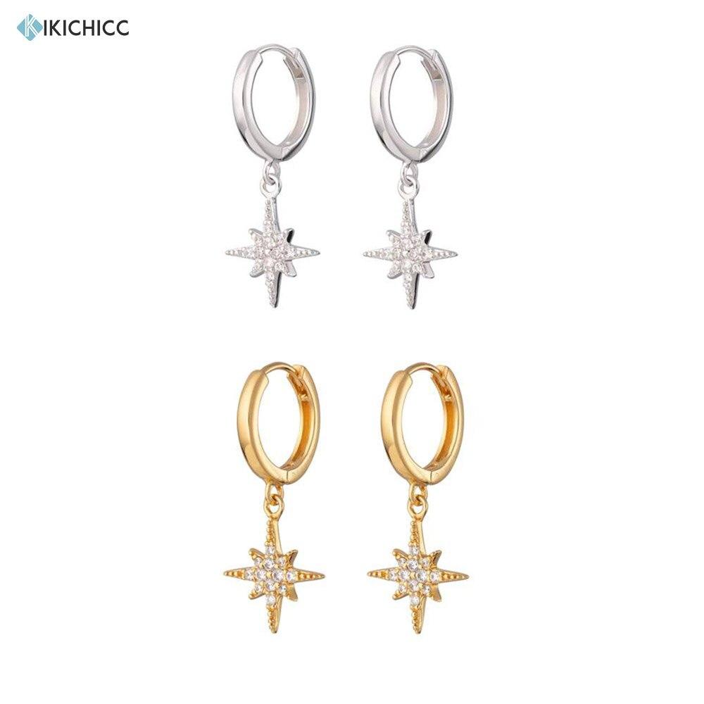 Kikichicc 925 Sterling Silver Gold Pendiente Flower Drop Earring Snow Flower Dangle Charms Women Luxury CZ Zircon Jewelry