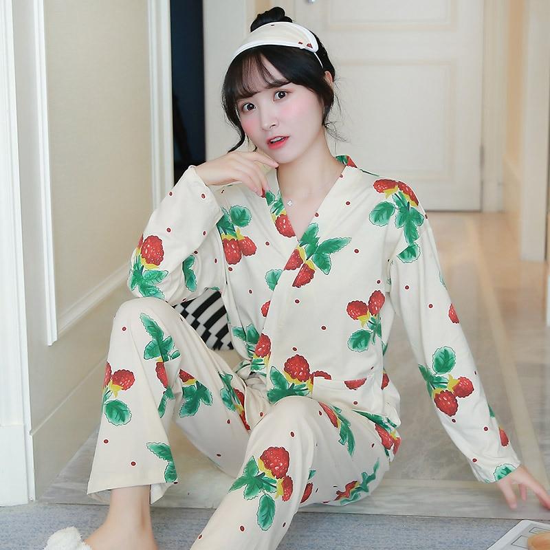 Autumn New Style Long Sleeve Trousers Japanese Style Kimono Set Sweet Cardigan Pajamas Women Tracksuit Qmilch Send Eye Patch