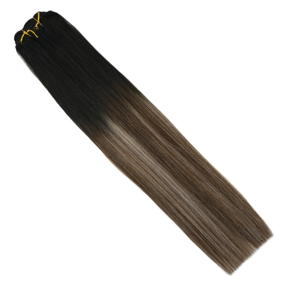 VeSunny Double Weft Clip In Hair Extensions 100% Real Human Hair 7pcs 120gr Balayage Black To Brown Mix Ash Blonde #1B/4/18