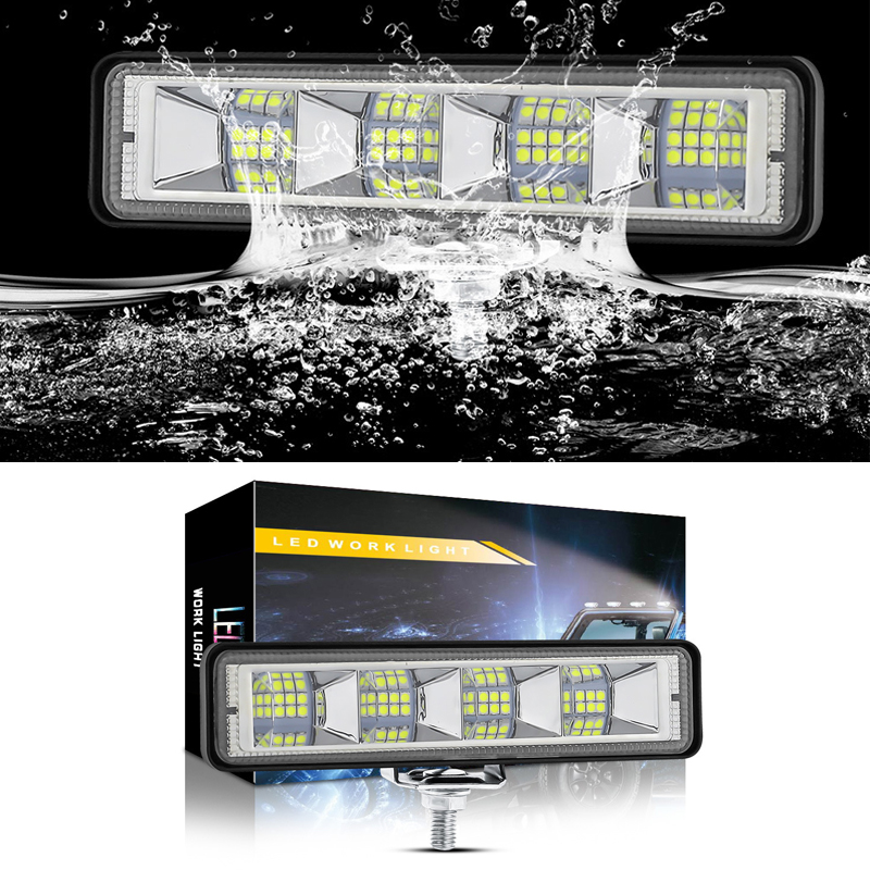 72W 12V 36V Flush Mount Offroad LED Work Light Pods 4x4 4WD ATV Truck LED Lamp For Auto Car SUV Tractor Off-road 24LED