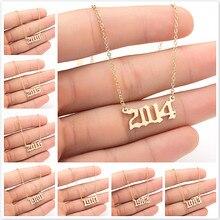 Colar de aço inoxidável exclusivo do número do ano de comemoração para meninas femininas 1990 1991 1992 1993 1994 2019 colar