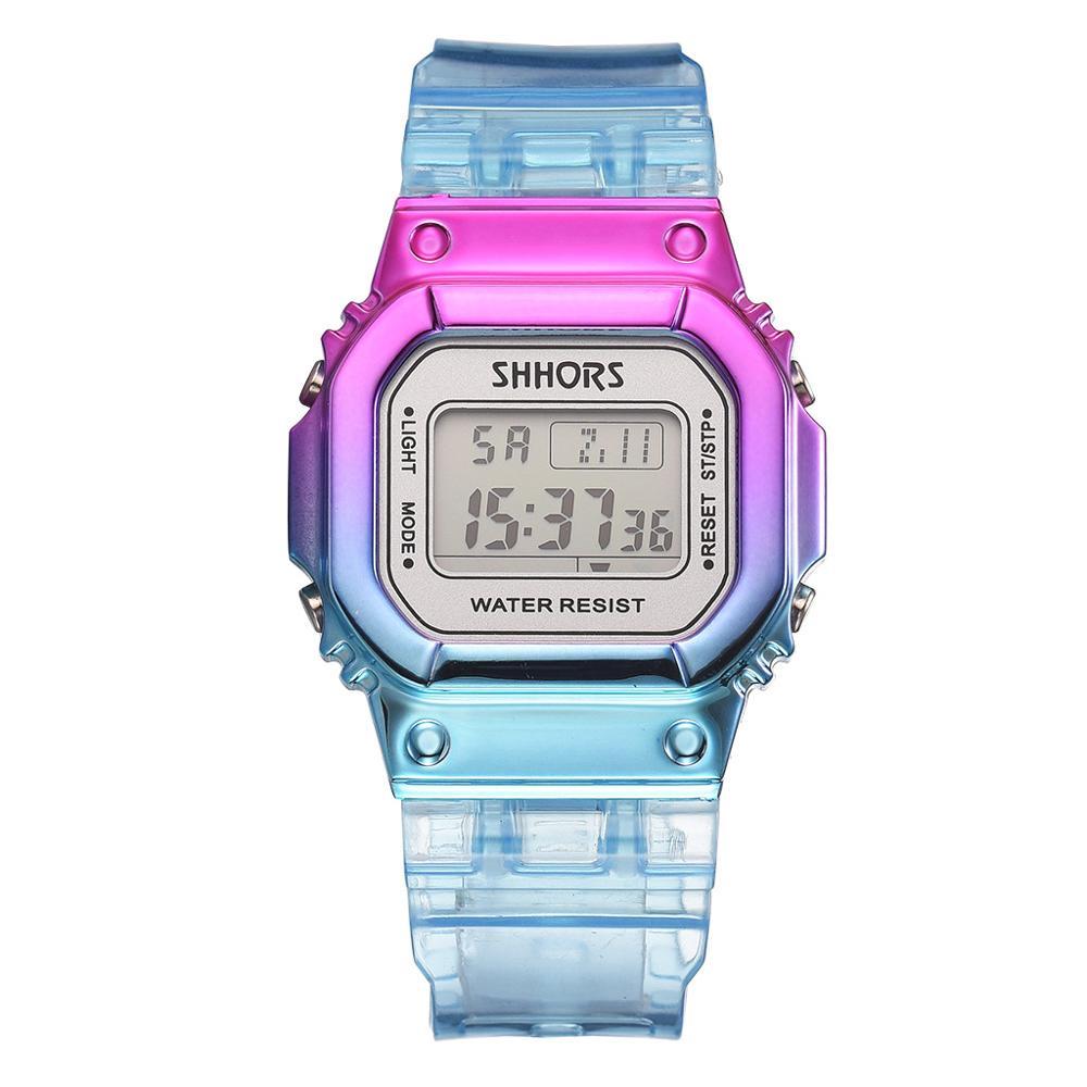 Mix Color Unisex Men Women Watches Fashion Stylish Sky Blue Lady Digital Watches Creative Shock LED Alarm Clock Girls Gift Hour
