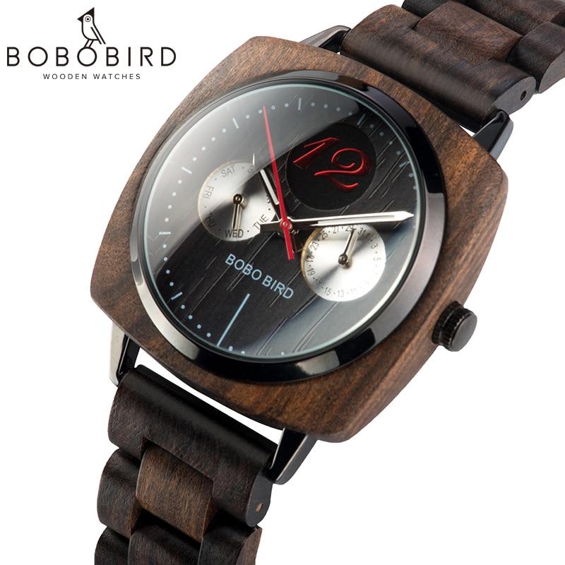 BOBO BIRD Stylish Luxury Men Wood Watches Relogio Masculino Timepieces Military Quartz Wristwatch In Wood Gift V-S06