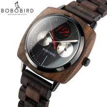 BOBO BIRD Stylish Luxury Men Wood Watches relogio masculino Timepieces Military Quartz Wristwatch In Wood Gift V-S06 luxury natural all bamboo wood watches round simple bracelet clasp quartz movement wristwatch gifts relogio masculino