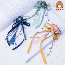 1 Pcs Simple Style Elastic Hair Bands Elegant Women Girl's Ribbon Flower Tassel Rubber Bands Ponytail Holder Hair Accessories(China)