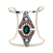 Adjustable Metal Bangles for Women Party Jewelry Geometric Trendy Crystal Bracelet Smooth Wide Opening Bangle Punk Ladies Gift