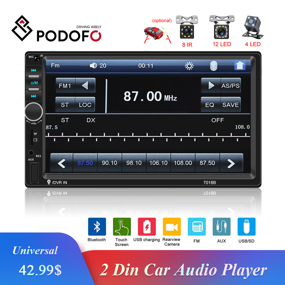<font><b>Podofo</b></font> 2Din 7'' inch Car Radio Touch Screen Auto Radio Bluetooth Car Audio MP5 Player Support Rear View Camera Radio Control Car image