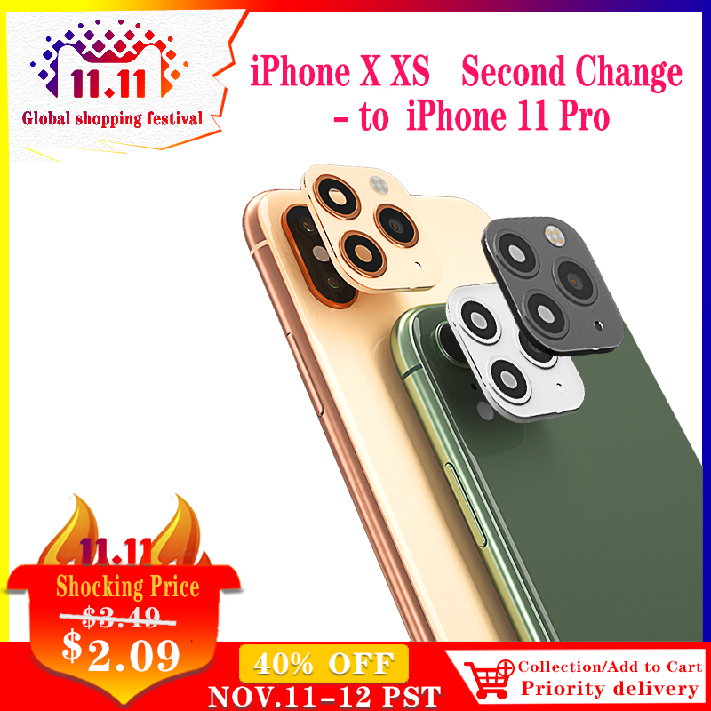Orsda Metal Camera Lens Seconds Change for iPhone 11 Pro Lenses Ring Cover Sticker For iPhone X XS MAX Rear lente para celular
