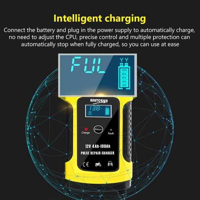 12V 6A Intelligent Car Motorcycle Battery Charger For Auto Moto Lead Acid AGM Gel VRLA Smart Charging 6A 12V Digital LCD Display