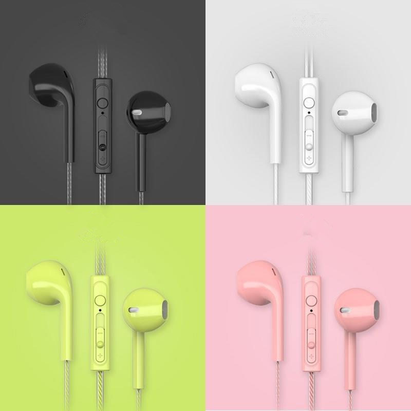 Cores doces com fio fones de ouvido estéreo baixo fones alta fidelidade esportes à prova dwaterproof água fone música 3.5mm com microfone moda