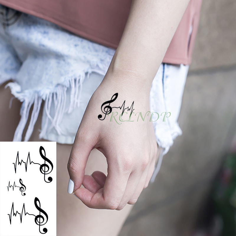 Waterproof Temporary Tattoo Sticker Musical Note Heartbeat Small Tatto Flash Tatoo Fake Tattoos For Girl Men Women Kid