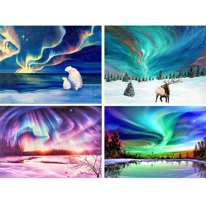 4 Pack Aurora Elk 5D DIY Diamond Painting Kit Full Drill Embroidery Cross Stitch