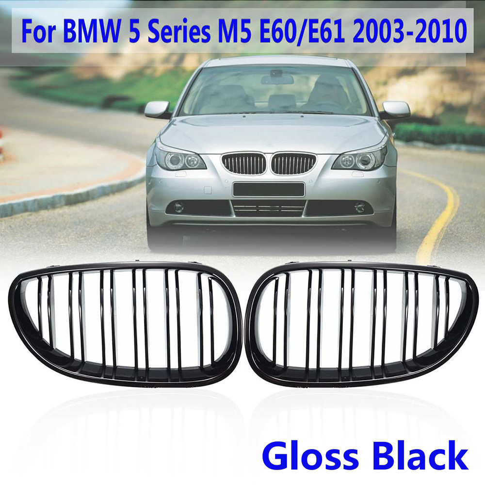 2pcs black Car Front Kidney Grilles covers high quality for <font><b>BMW</b></font> <font><b>5</b></font> <font><b>Series</b></font> M5 <font><b>E60</b></font> / E61 2003-2010 car grille cover protector image